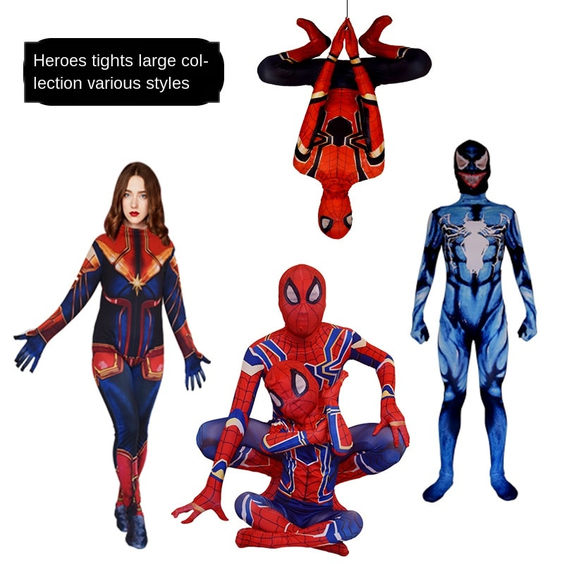 child adult cosplay amazing spiderboy tights halloween costume zipper suit super heroes bodysuit for kids party Halloween Performance Costume Adult Child Bodysuit Cosplay Costume
