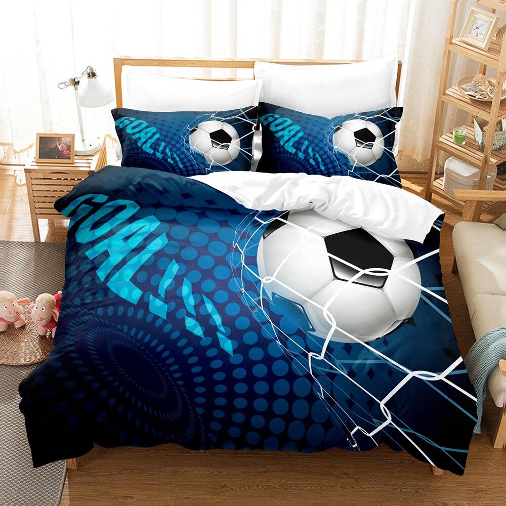 طقم سرير كرة القدم التوأم واحد كامل الملكة الملك الحجم عشاق الرياضة المشجعين طقم سرير غرفة نوم الطفل Duvetcover مجموعات 013