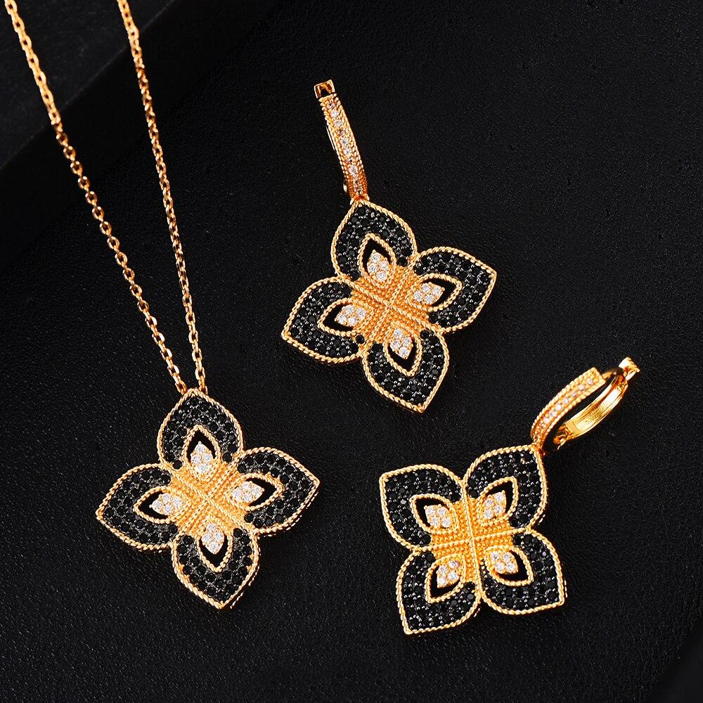 GODKI, collar de flores de la suerte, conjunto de pendiente, conjunto de joyería para mujer, fiesta de boda, zirconia cúbica completa, Dubai, conjunto de joyería nupcial, 2020