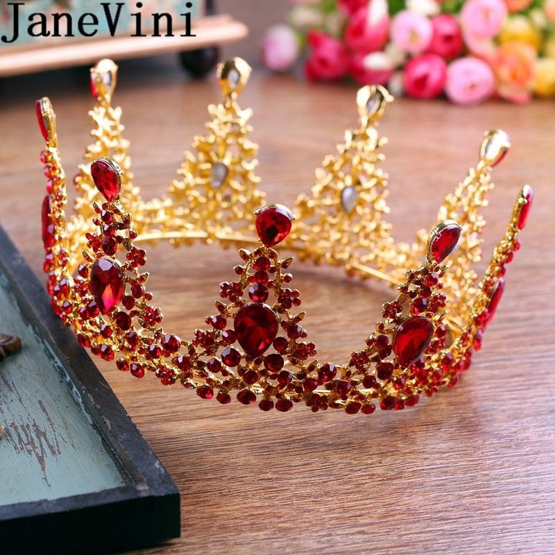 JaneVini mujeres árabes diadema 2019 cristal rojo novia cabeza joyería India nupcial redondo coronas barroco oro Metal Tiaras