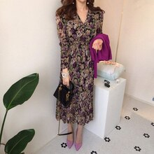 YAMDI Korea style vintage new Spring Summer Chiffon Floral Printing  Dress  Midi Dress Pleated Hem Elegant Party Vestidos robe