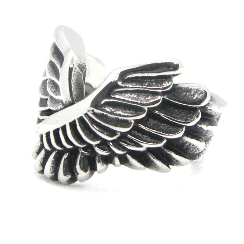 Soporte Dropship Tamaño 7-13 nuevo anillo en forma de ala 316L Acero inoxidable moda popular cool pluma diseño anillo