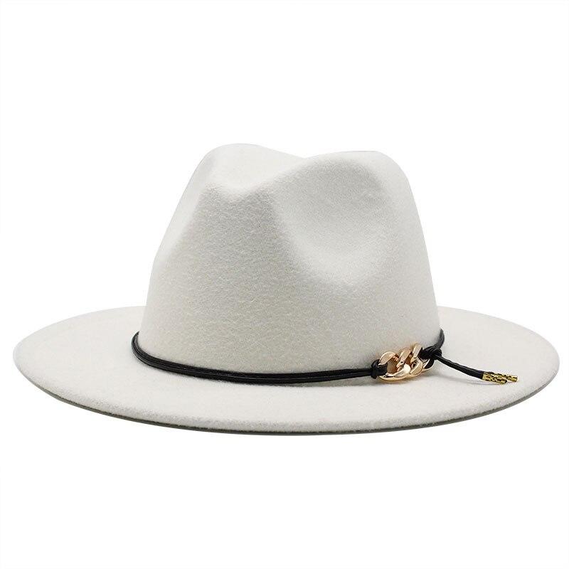 Chapéu preto/branco chapéu formal chapéu de chapéu chapéu de chapéu de lã com fivela de cinto