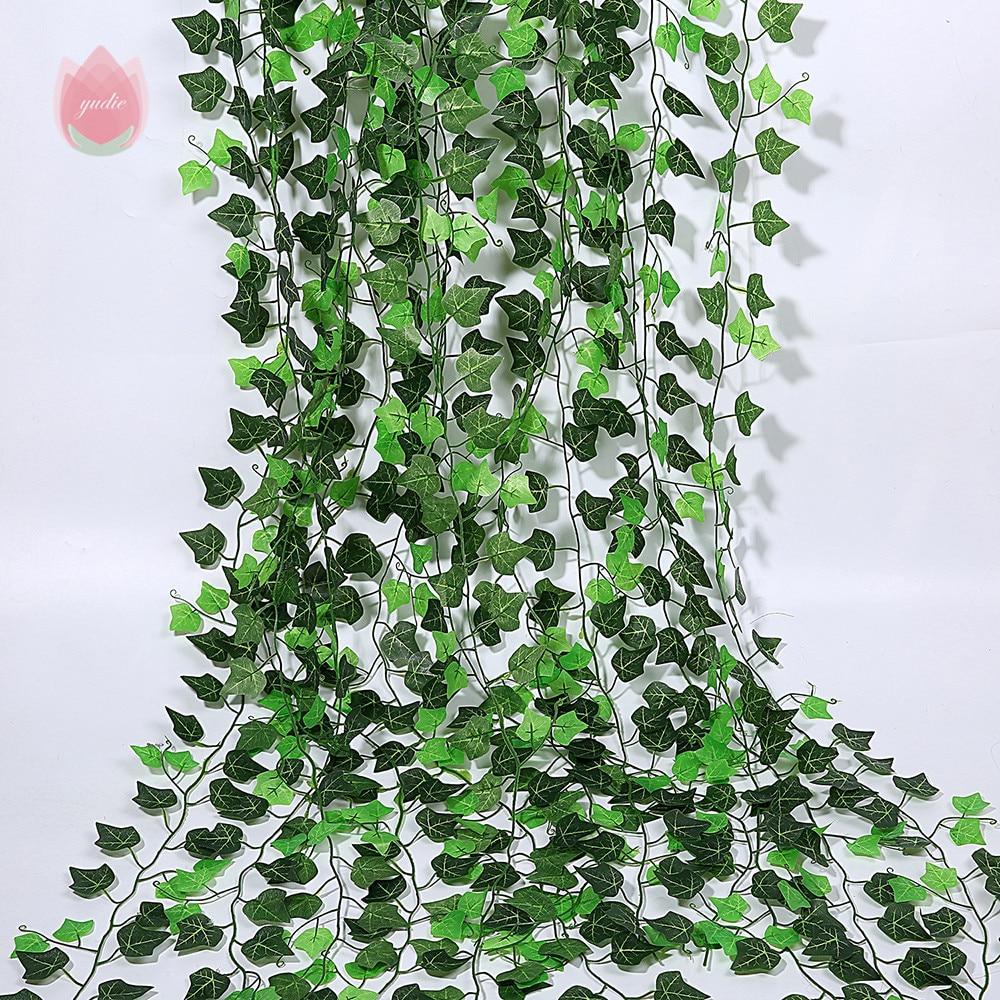 1Pcs 230Cm Green Silk Artificial Hanging Leaf Garland Plants Vine Leaves Diy For Home Wedding Party