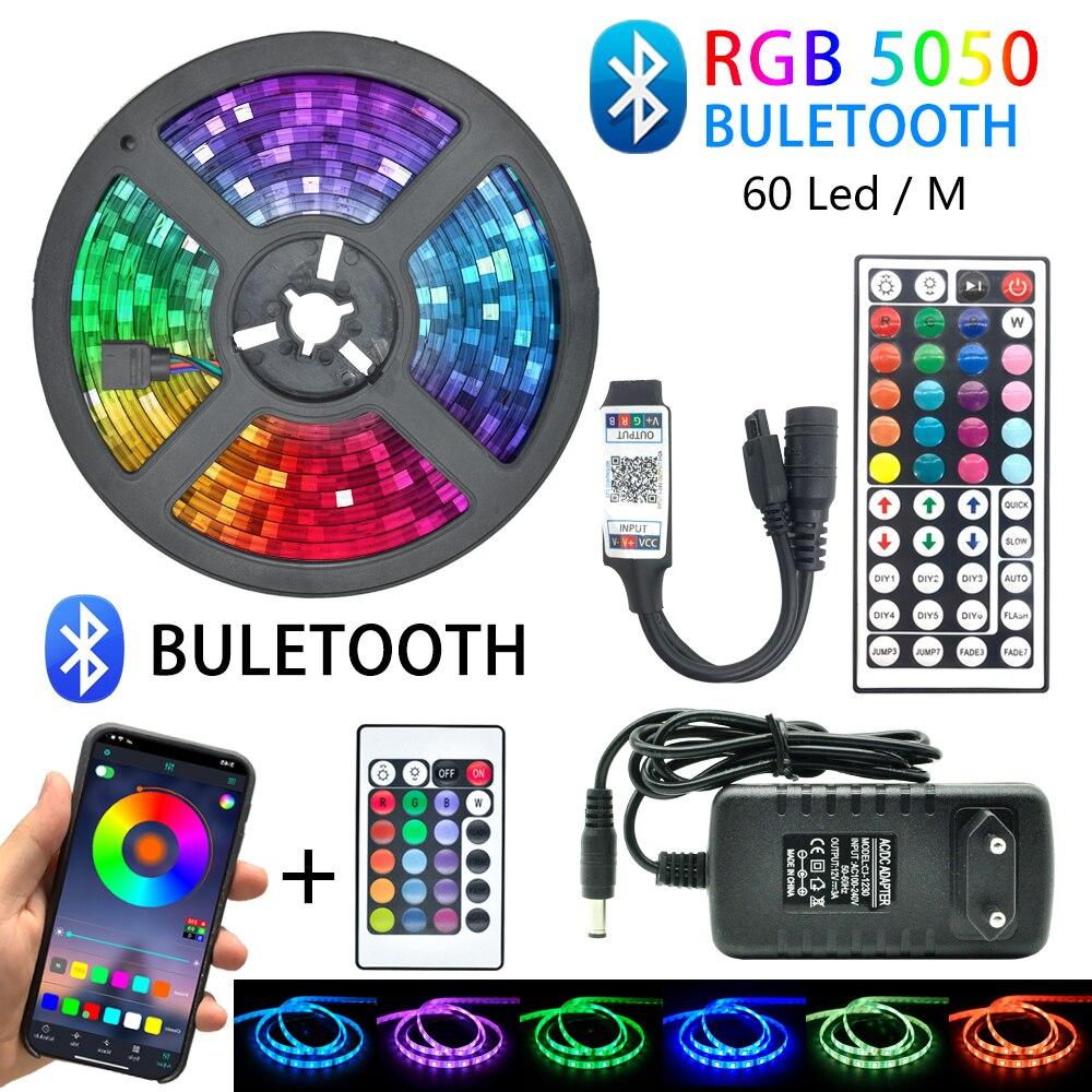 LED Strip Light RGB 5050 SMD 60LED/M Waterproof Flexible Lamp Color Changeable Flexible 5M 10M 15M 20M Remote Controller + Power