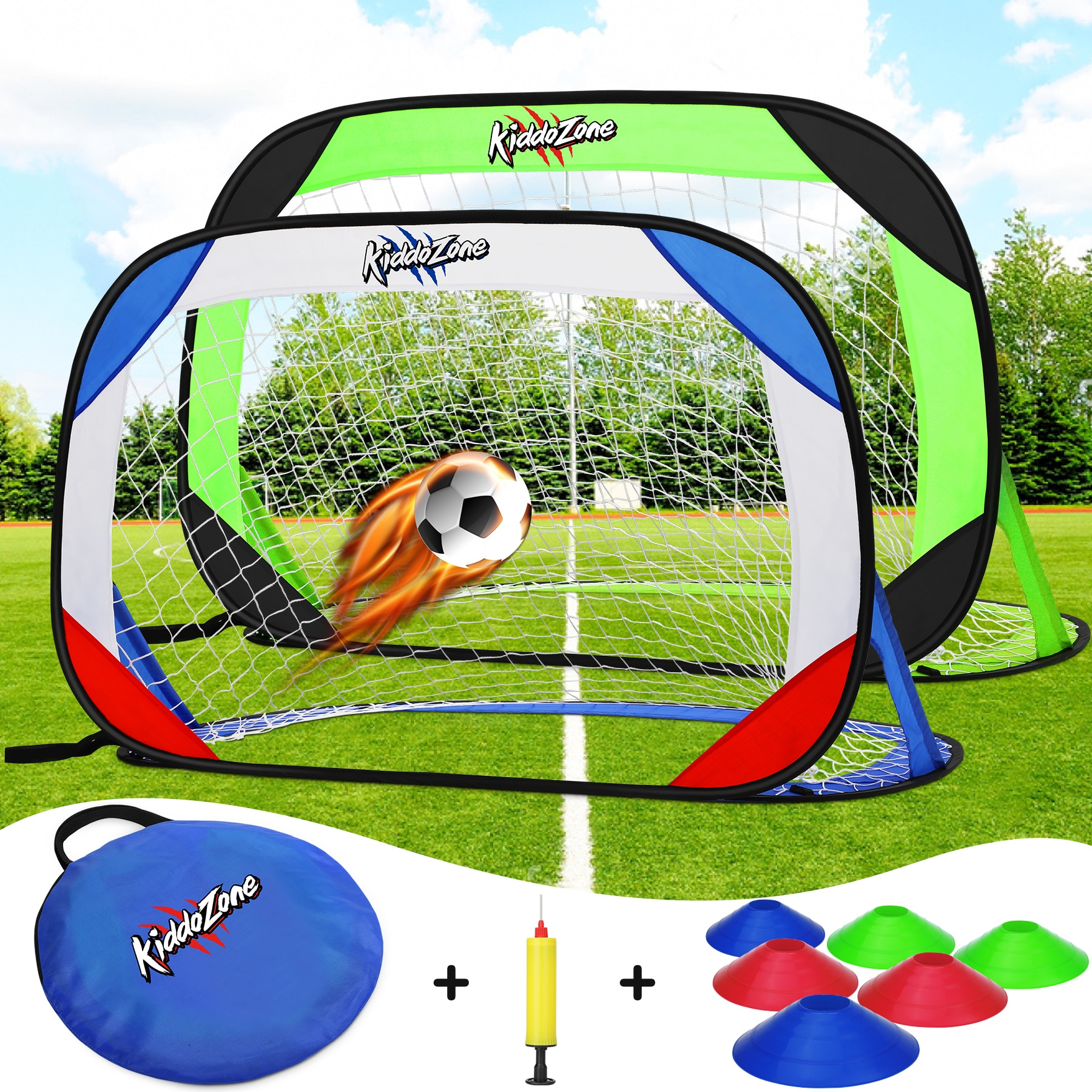 Football Suit Soccer Folding Training Goal Net Set With Soccer Cones Pump Kids Outdoor Sports Soccer Training Equipment