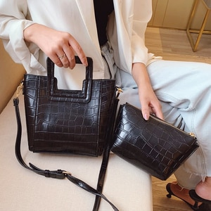 Vintage Handbags Stone Pattern Women Crossbody Bag PU Leather Large Capacity Shoulder Messenger Bags Ladies Design Tote Bag