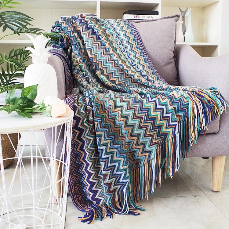 Funda de sofá Bohemia con borlas, toalla de sofá para sala de estar, funda de sofá estampado a rayas, funda de sofá Pastoral, manta