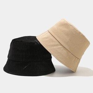 2021 New Autumn Winter Hats for Women bucket hat  for Men Outdoor  PU  Basin Cap Men fisherman hat