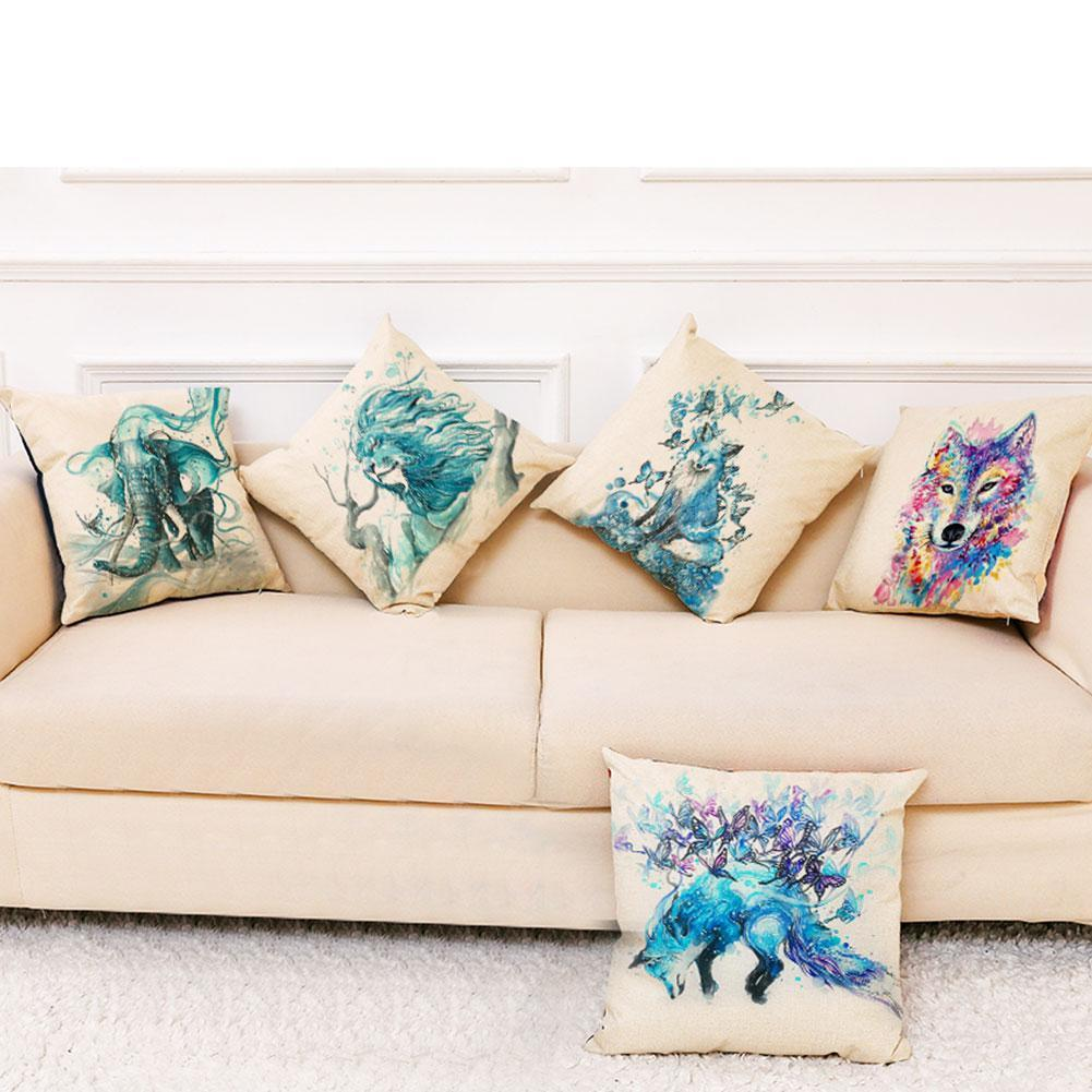 Art pillowcase Animals Pattern Peach skin material Car Sofa Pillow Pillow 45x45cm Home Cover Throw Decorative Square Cushio P1F8 stylish seabed landscape fish pattern square shape flax pillowcase without pillow inner