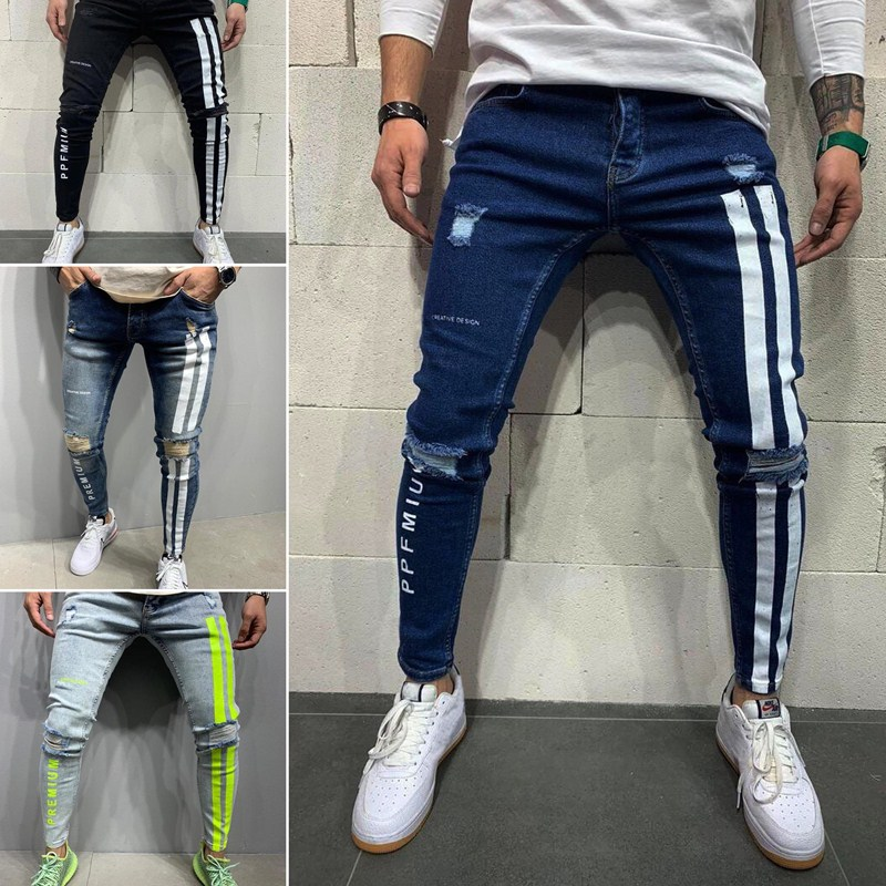 Джинсы мужские скинни, рваные джинсы в полоску, мужские брюки, джинсы 2021, мужские повседневные тонкие летние джинсовые брюки джинсы cerruti джинсы скинни