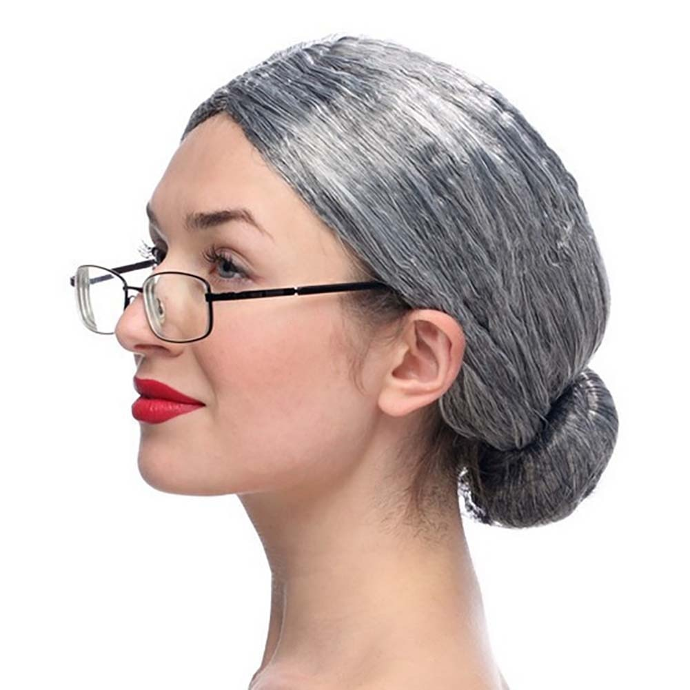 Peluca de disfraz de señora mayor abuela Sra Papá Noel juego de rol vestido elegante moño accesorios para fiestas de Halloween