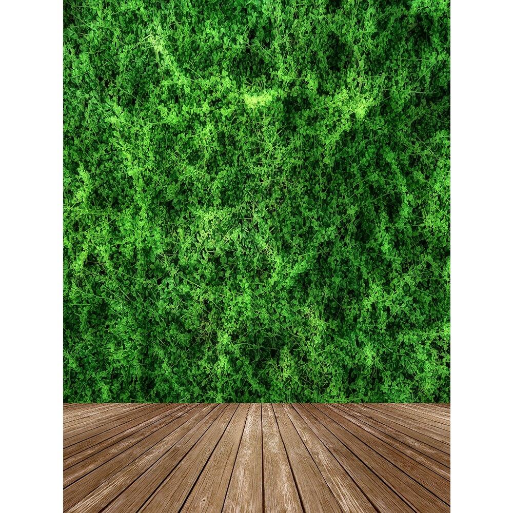 Piso de Madeira Fotografia Backdrops Natureza Folhas Verdes Parede Grama Retrato Cenário Fotográfico Fundos Photocall Photobooth