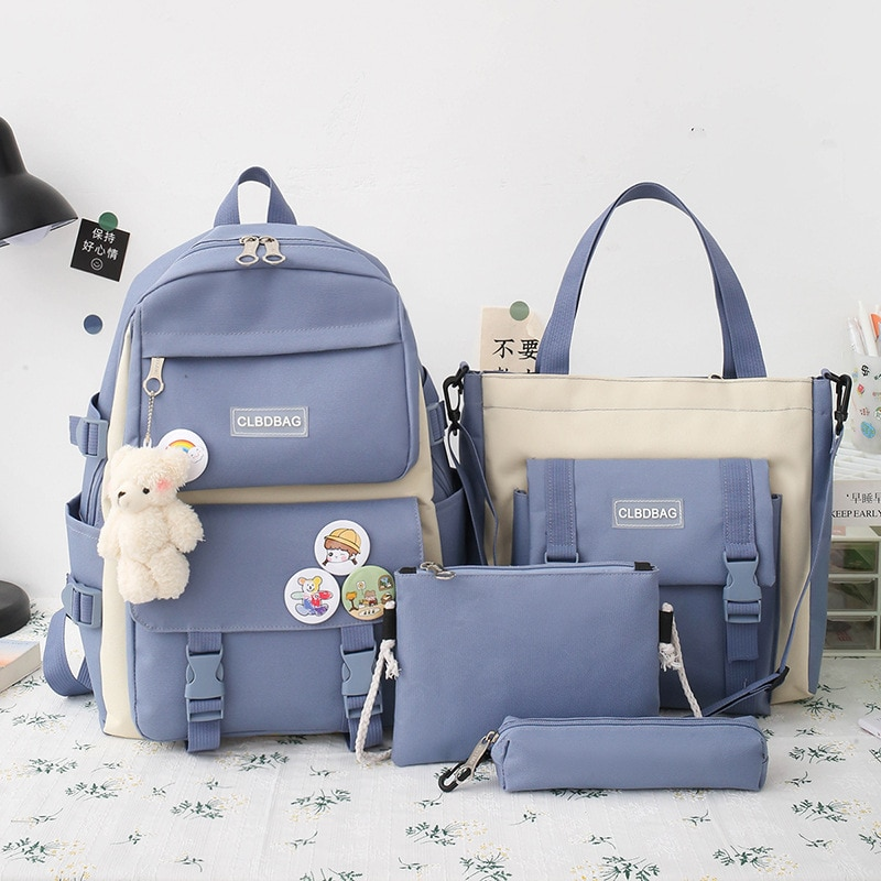 Фото - 2021 four piece set Primary School Students Grade 3-6 junior high school students color contrast backpack Hand Bag Fashion 2021 four piece set primary school students grade 3 6 junior high school students color contrast backpack hand bag fashion