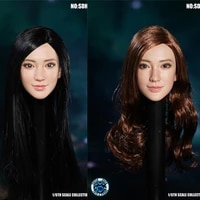 super duck 1 6 asian beauty female head carved sdh022 white skin black straight hair yellow curly hair in stock