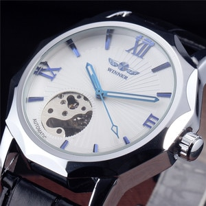 New WINNER Brand Blue Pointer Watch Men Clock Business Mechanical Automatic Watches Leather Strap Silver Male Wristwatch