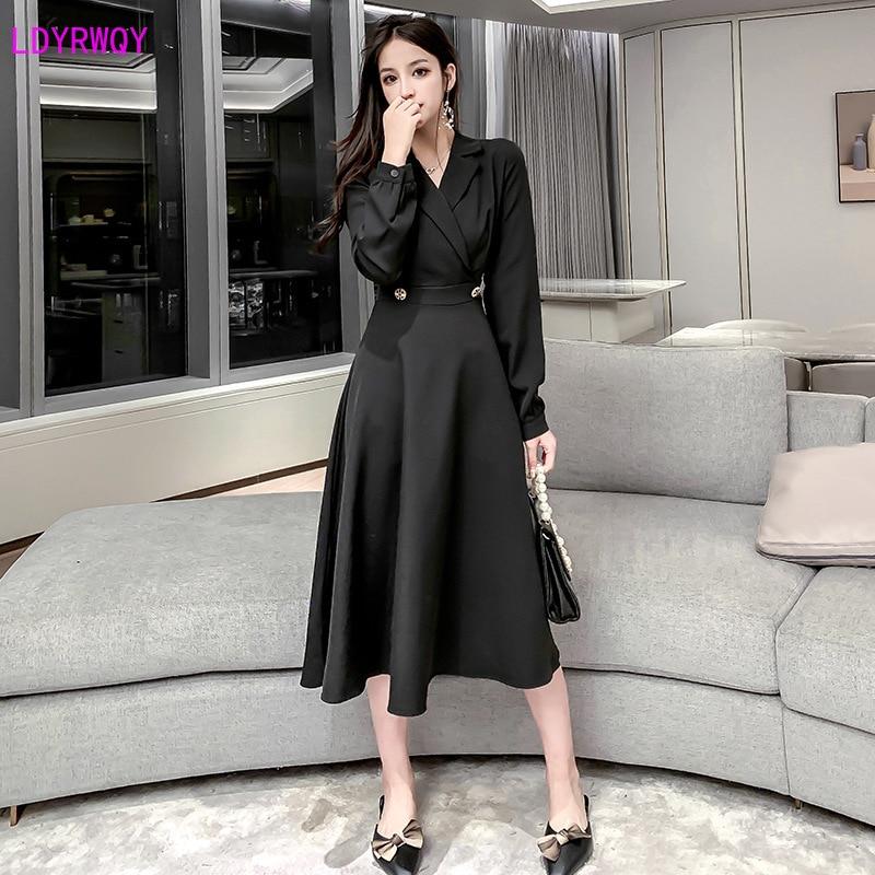 2019 autumn and winter new Korean women's professional temperament suit button collar high waist was thin fashion A word dress