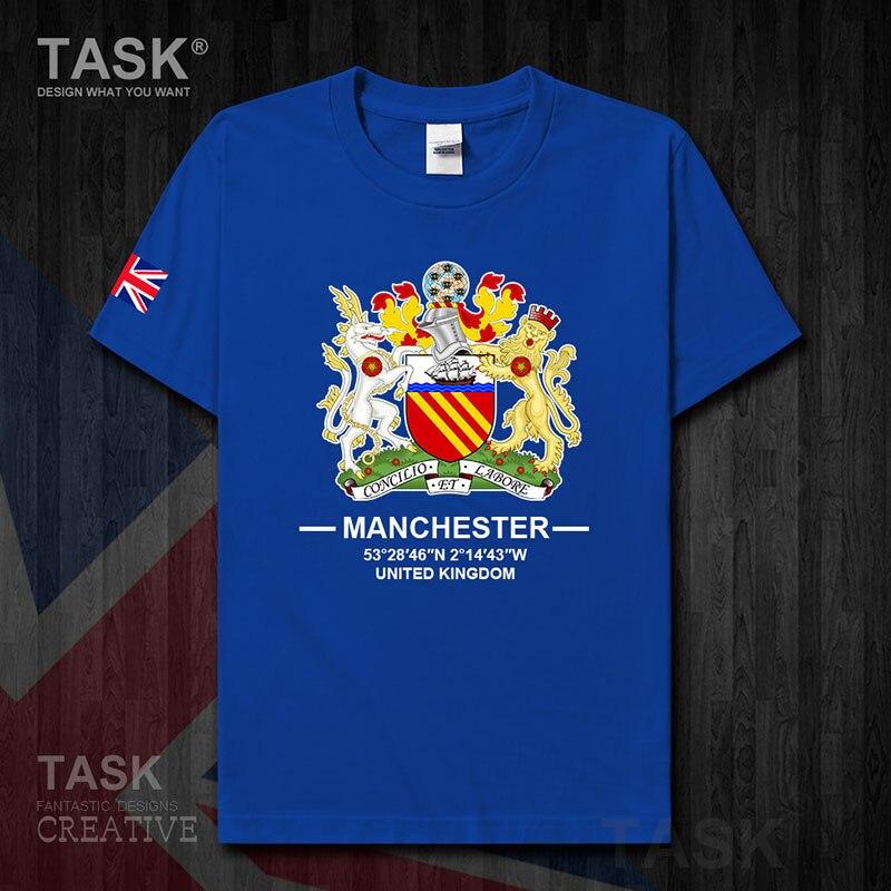 Manchester Inglaterra Reino Unido logotipo de la ciudad turística internacional de la cultura souvenir para hombre Camiseta de moda deportiva tops Camiseta de algodón 20