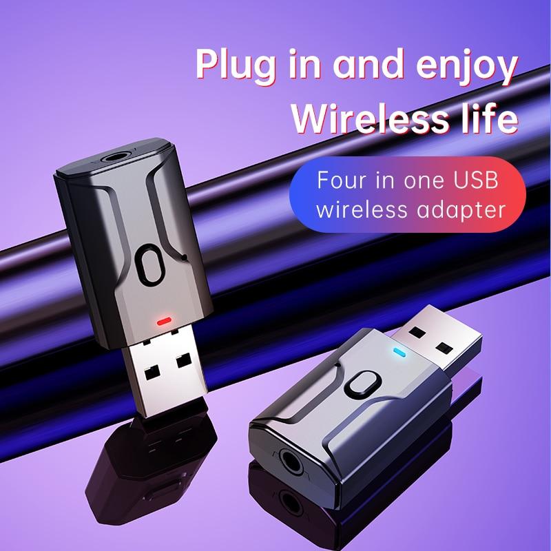 USB inalámbrico Bluetooth Transmisor receptor de música y Audio, Bluetooth 5,0 Adaptador...
