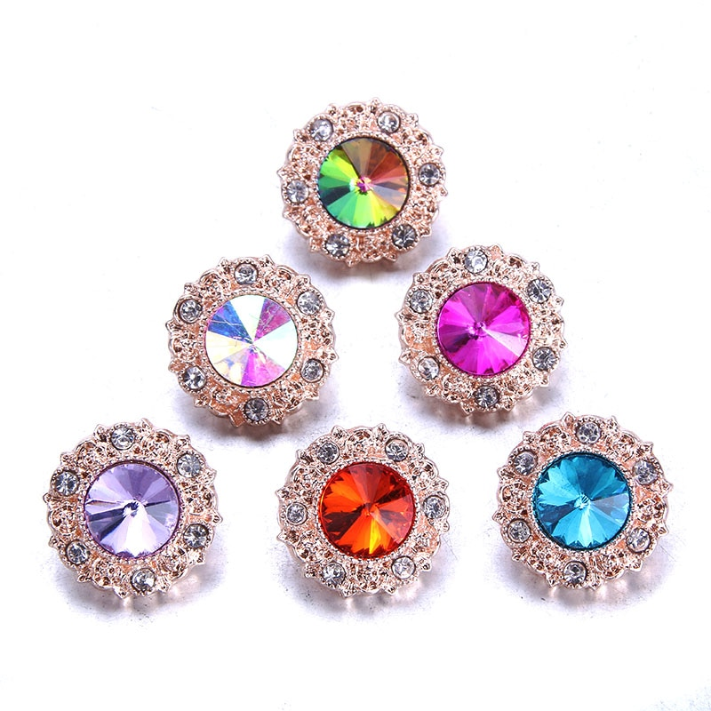 10pcs/lot New Snaps Jewelry Colorful rhinestone Zircon Buttons Fit 20mm 18mm Snap Button Bracelet button