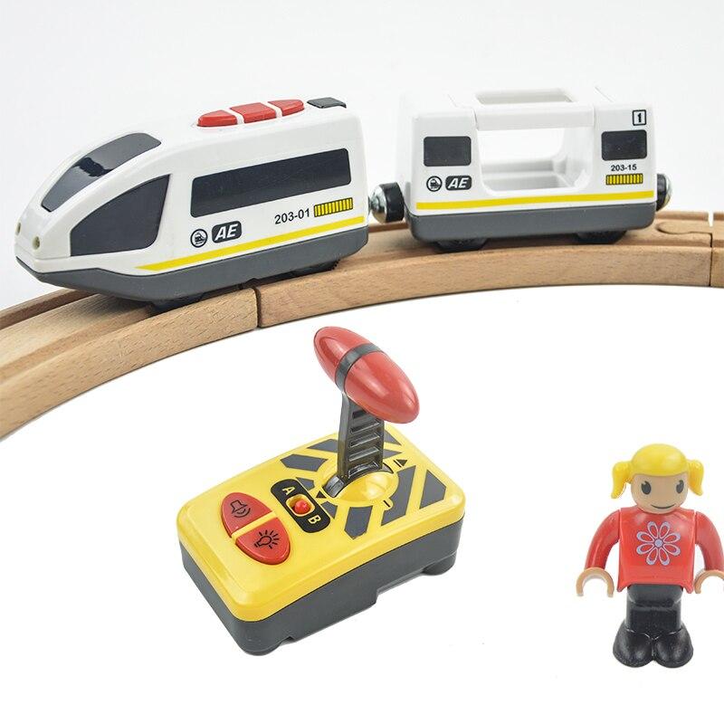 Радиоуправляемый Электрический магнитный поезд со звуком и подсветкой, для скоростного грузовика, подходит для деревянного трека, для детей, электрическая игрушка, детские игрушки