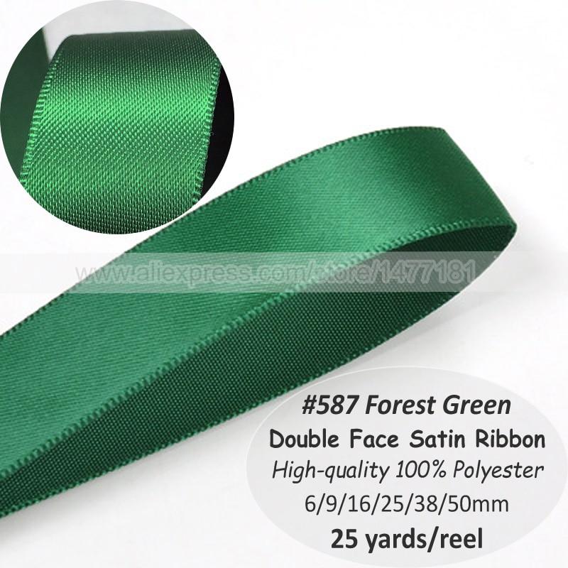 (25 metros) 587 verde bosque 6 9 16 25 38 50mm doble cara cinta de raso de alta calidad 100% poliéster con doble cara cinta de seda