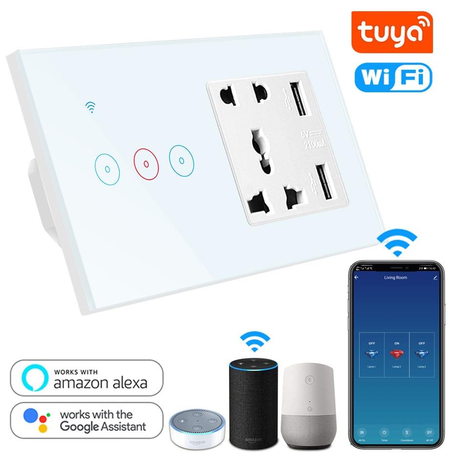 Tuya-مقبس حائط عالمي ذكي مع USB ومفتاح يعمل باللمس ، 3 عصابات ، لاسلكي ، إضاءة LED ، متوافق مع Alexa و Google Home