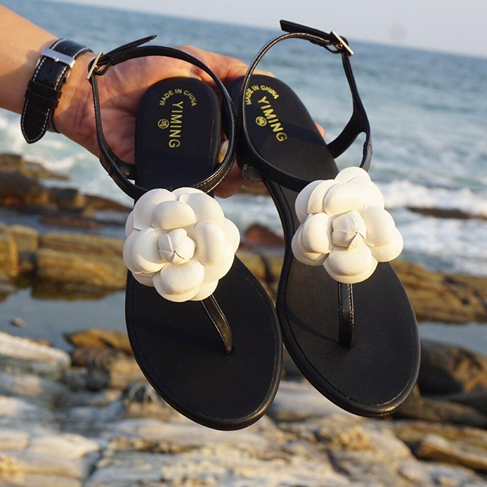 Bohemian summer women's floral flat sandals resort beach flip-flops simple beach flats baan laimai beach resort