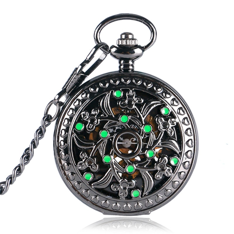 Steampunk Hollow Out Case Men Women Skeleton Clock Handwinding Mechanical Pocket Watch Arabic Number Dial Pendant Chain Gift
