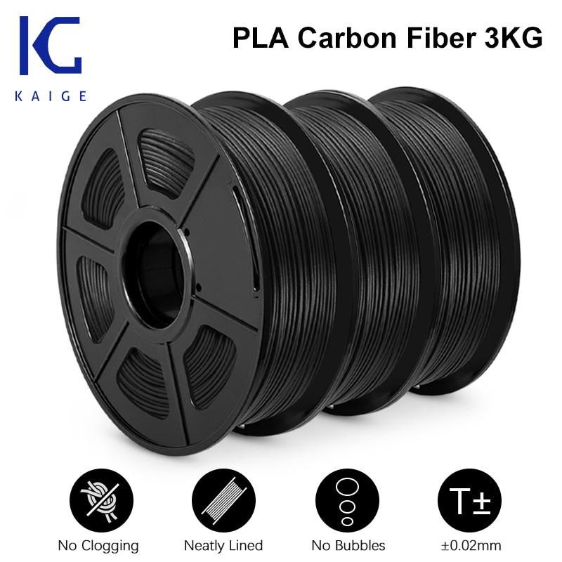 KAIGE PLA ألياف الكربون 1.75 مللي متر 3 كجم عالية القوة خفيفة الوزن غير سامة طابعة ثلاثية الأبعاد التسامي الفراغات خيوط تصميم اللوحة