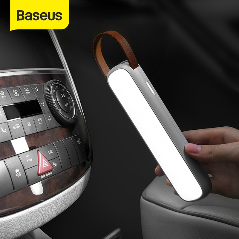 Baseus الشمسية سيارة كشاف طوارئ قابل لإعادة الشحن LED السيارات الداخلية القراءة ضوء المحمولة ليلة ضوء المغناطيسي سيارة مصباح إشارة