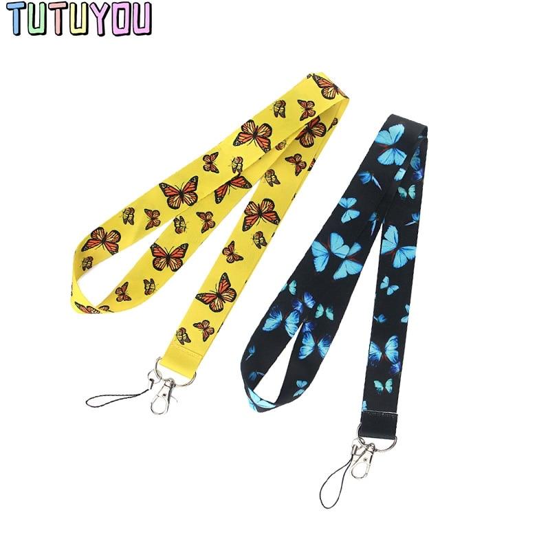 PC2075, buena calidad, hermosa insignia creativa de mariposa, cordones de identificación, cuerda de teléfono móvil, cordón de cuerda, accesorios de correas para el cuello