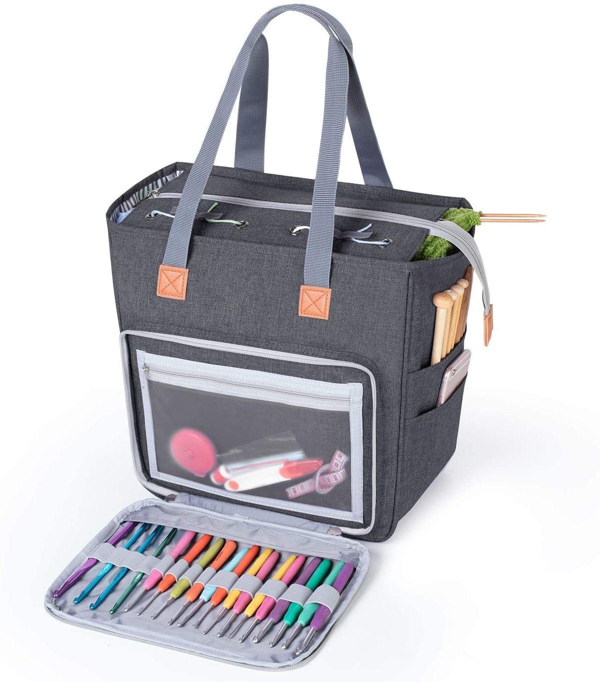 حقيبة حياكة صوف كروشيه محمولة ، حقيبة تخزين خيوط ، منظم إبر الخياطة ، ملحقات الخياطة ، هدية تخزين