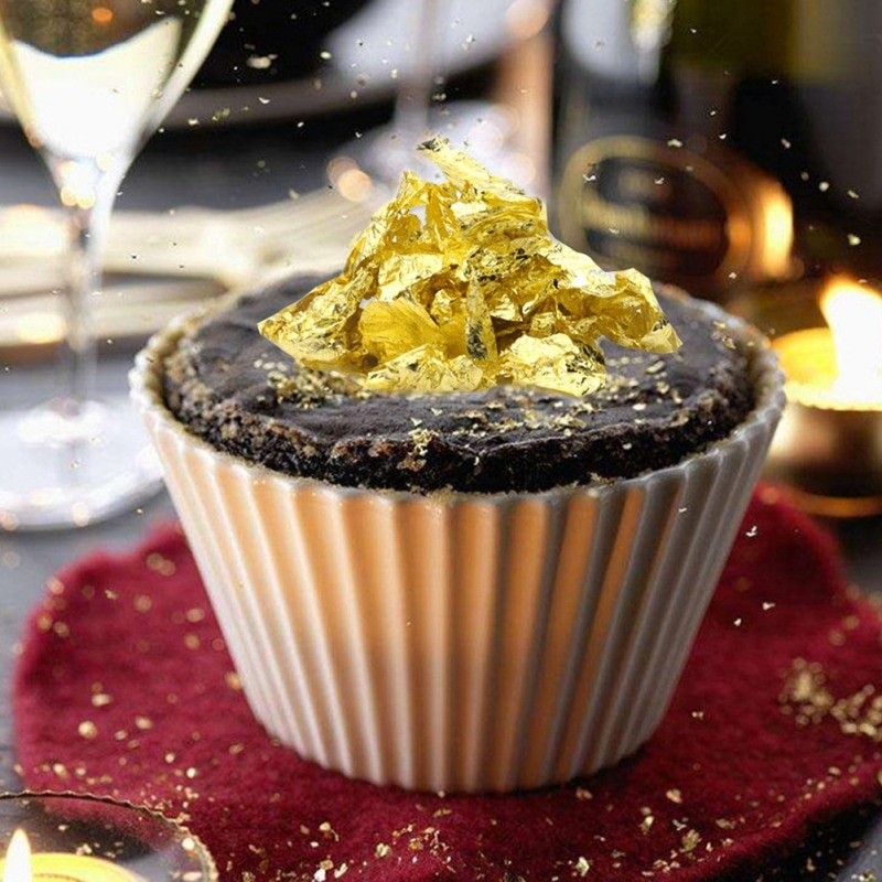 10 Pcs 8 X 8 Cm Aomily Edible Grade Genuine Gold Leaf Flake Cooking Drink Food Dessert Cake Ice Cream Safety Decoration