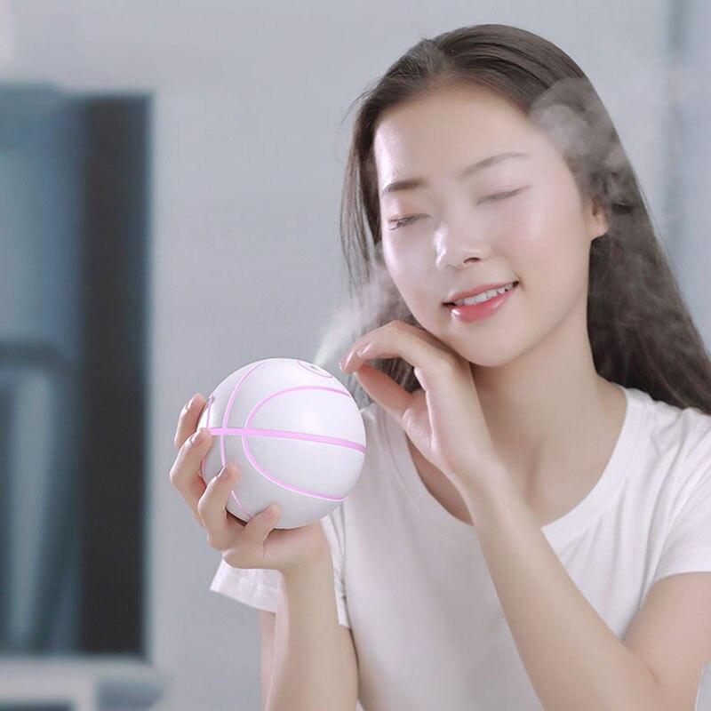 Humidificadores USB eléctricos de baloncesto con luces LED, difusor de Aroma para coche, humidificador de aire para coche, difusor de aceites esenciales de 240ml