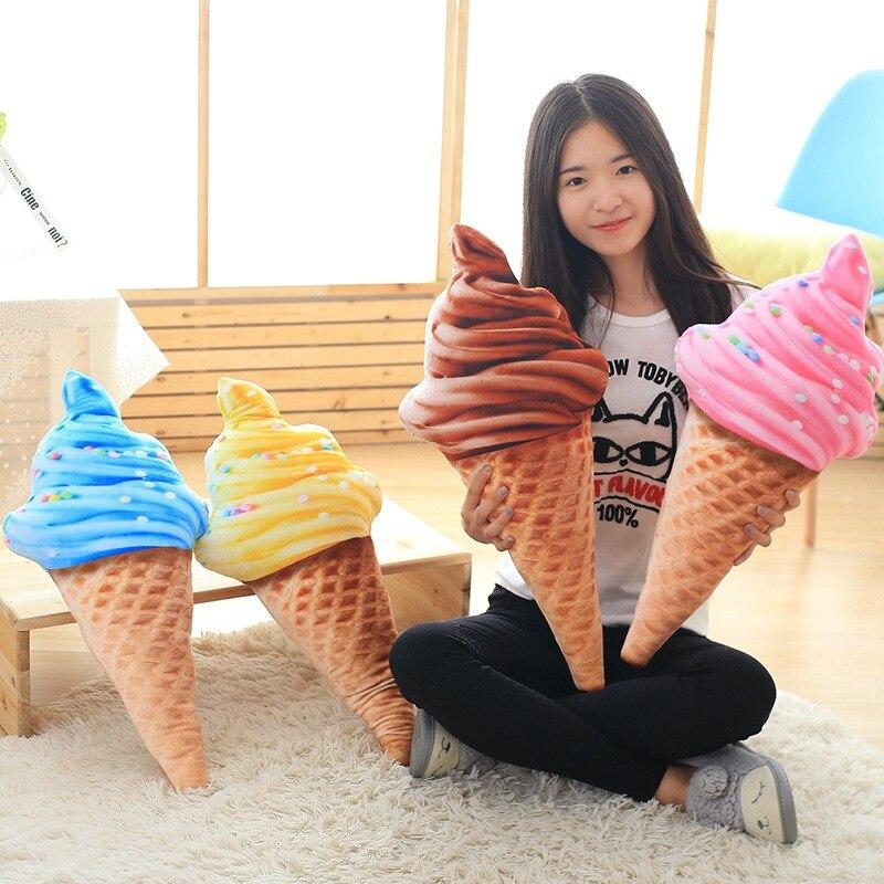 Lifelike Plush Ice Cream Cone large Stuffed Toy Kids Huggable Food Pillow Summer Decorative Plush Pillow Bed Chair Sofa