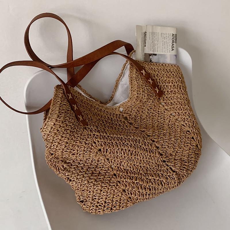 Hand-woven Women's Shoulder Handbag Bohemian 2021 Summer Straw Beach Tote Bag Travel Shopper Weaving Shopping Bags