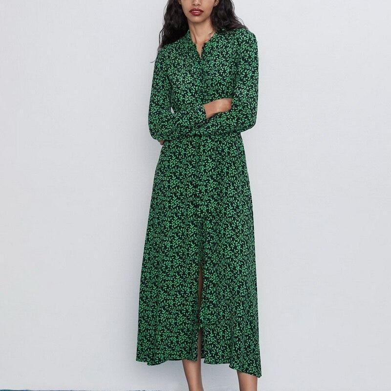 Women Long Dress Autumn 2019 New Fashion Floral Green Prints Vestidos Full Sleeve Modern Lady  Maxi Dresses