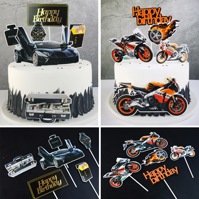 Happy Birthday Cake Toppers Motorcycle Topper Kids Girls Car Watch Cigarette Cake Flags Wedding Brid