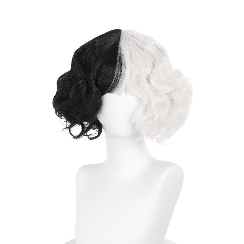 CRUELLA de Vil Cosplay Wig Short Curly Black White Ms. Spot Hair Deville Dalmations Heat Resistant Cosplay Wigs + Wig Cap