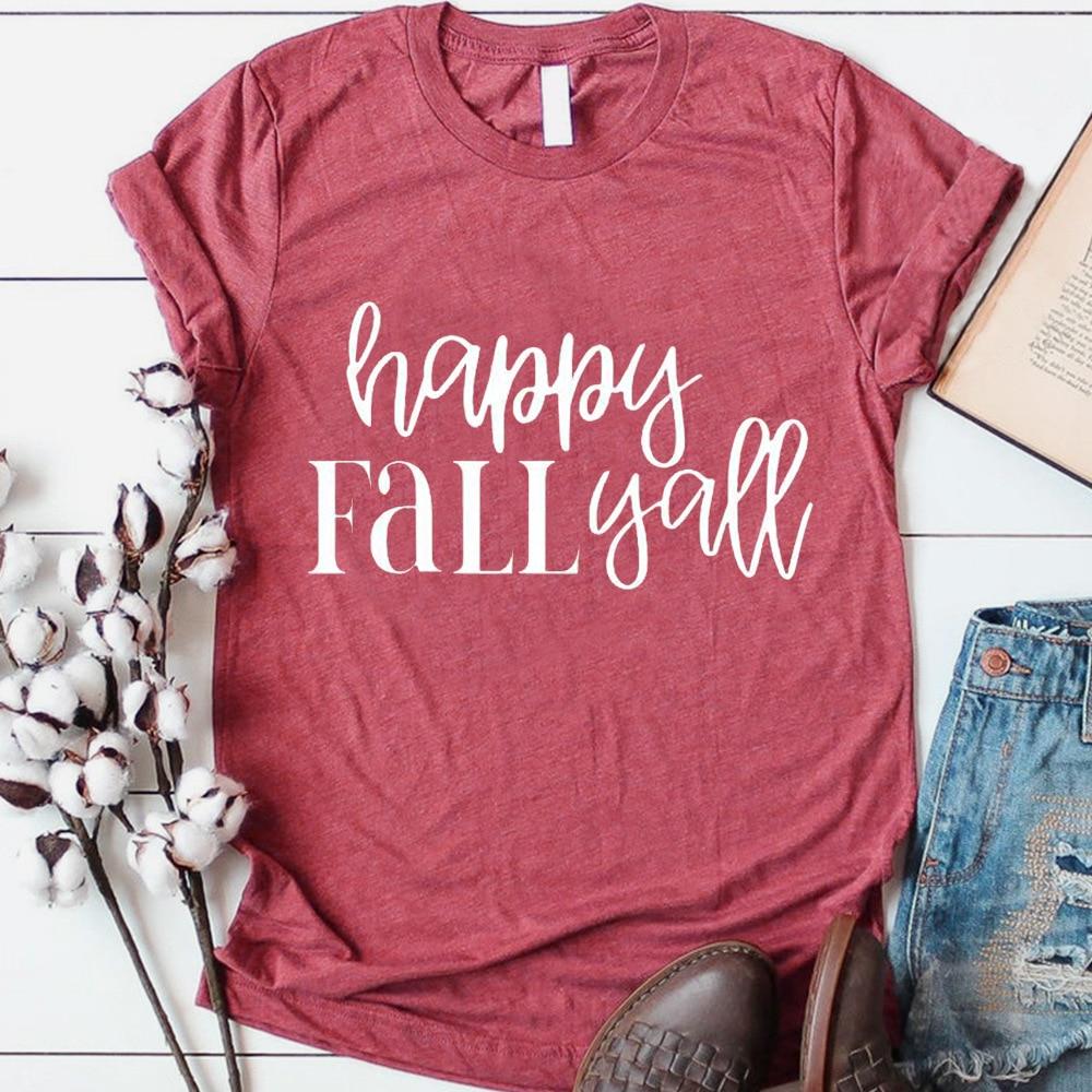 Женская футболка с надписью счастливая осень you, женская футболка с надписью размера плюс, женская футболка на День Благодарения, коллекция ...