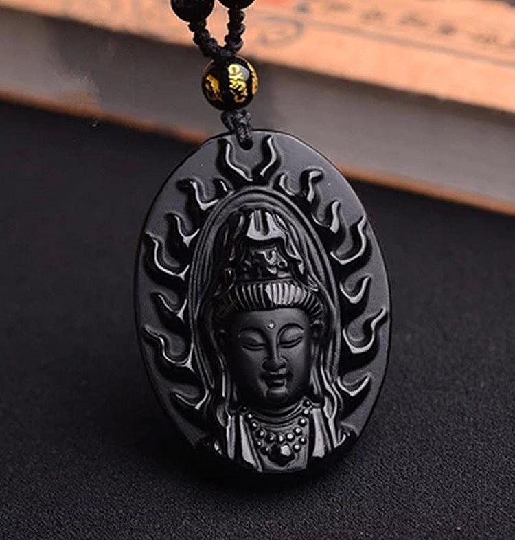 Collar con colgante de Guanyin Natural obsidiana Avalokiteshvara Cabeza de Buda natal...