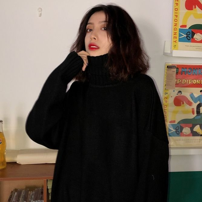 Korean solid color thickened high neck sweater female students' winter lazy wind loose Pullover knitted coat versatile top enlarge