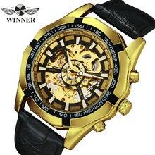 Gagnant officiel automatique montre hommes or squelette mécanique hommes montres marque de luxe bracelet en cuir robe de mode montre-bracelet