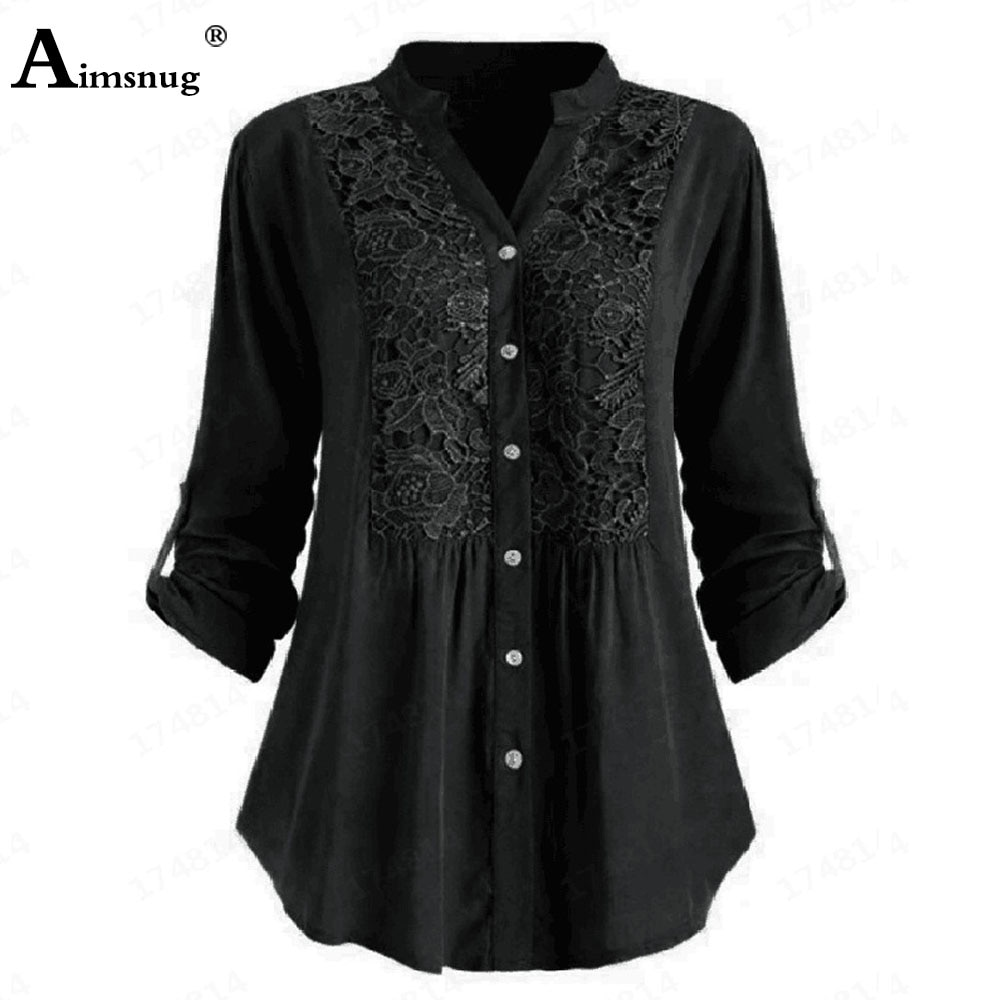Plus size 4xl 5xl Ladies Elegant Leisure Casual Shirt Blouses 2021 Spring Autumn Patchwork Lace Embroidery Tops Women Clothing