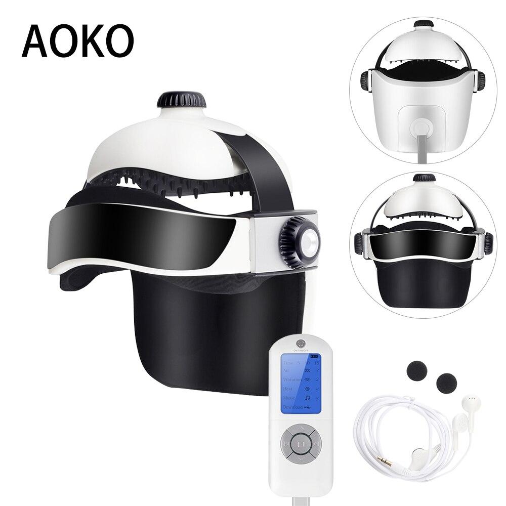 AOKO الكهربائية ضغط الهواء رئيس مدلك خوذة الاهتزاز تدليك الوخز بالإبر تخفيف التعب الموسيقى الاسترخاء العين مدلك