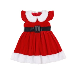 Lovely Baby Girl Christmas Short Sleeve Dress With Belt Hat Gloves Winter Festival Party Dress Santa Claus Fancy Mini Dress