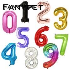 Globos grandes de 40 pulgadas para cumpleaños con número de helio, decoración para fiesta de feliz cumpleaños, 1 unidad, figuras, Globos de aire para bodas