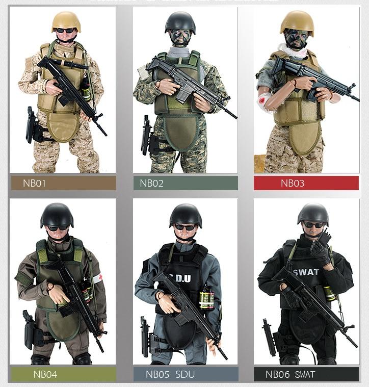 Juego de figuras de acción a escala 1/6, uniforme de combate militar, Gendarmerie SWAT con Rifle, traje, modelo de soldado de juguete de 12 pulgadas DIY