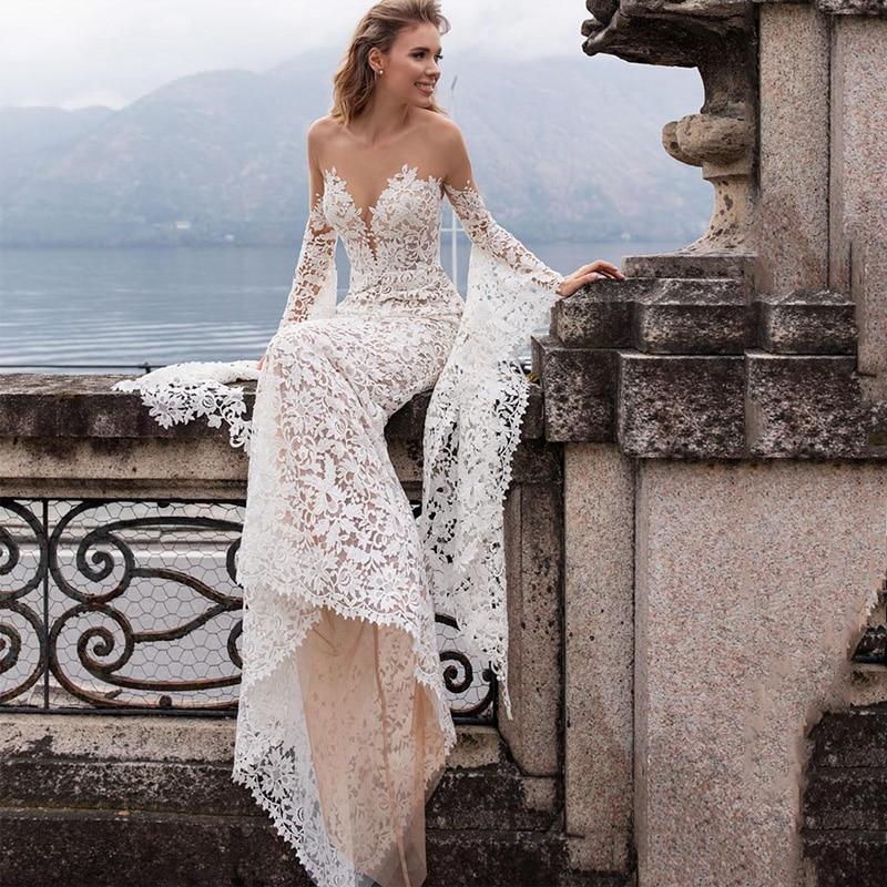 SODigne Lace Wedding Dresses Mermaid  Flare Sleeves Princess Bride Elegant Design Gowns